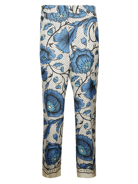 Gucci Floral Printed Trousers in blue / ivory