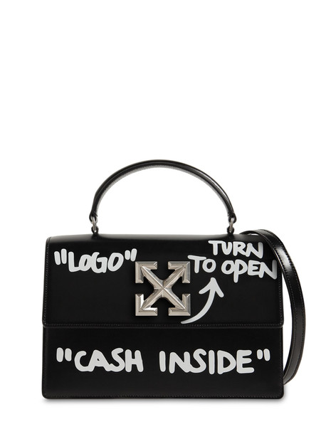 OFF WHITE Jitney 1.4 Printed Leather Bag in black
