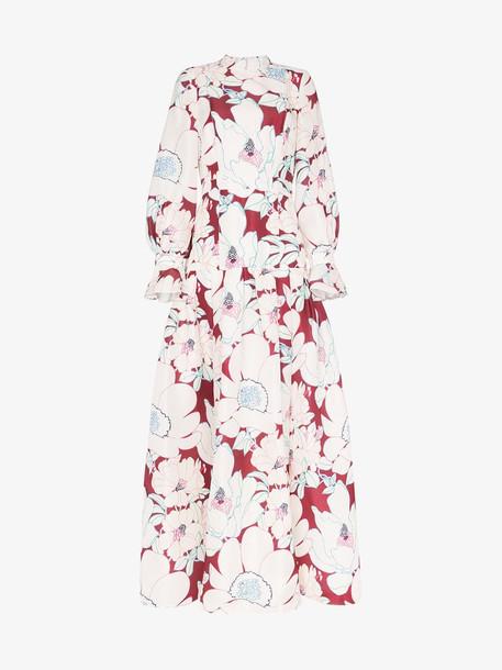 Carolina Herrera Floral Print Puff Sleeve Silk Gown