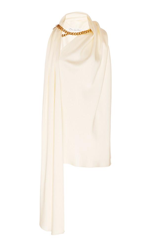 Oscar de la Renta Embellished Draped Jersey Top Size: 0 in neutral
