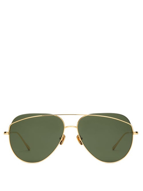 Linda Farrow - Aviator Metal Sunglasses - Womens - Dark Green