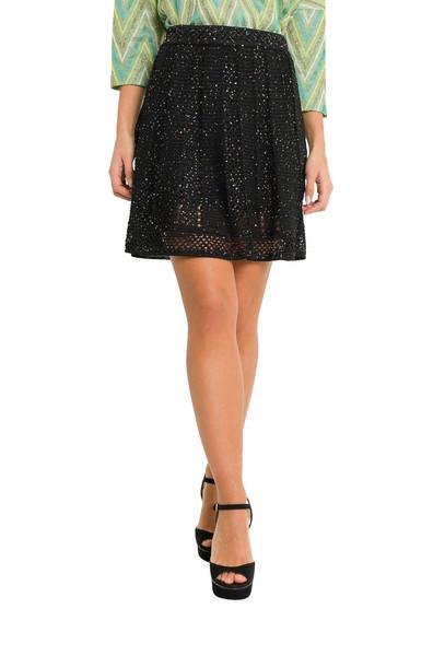 M Missoni Sequined Short Macramé Skirt in nero