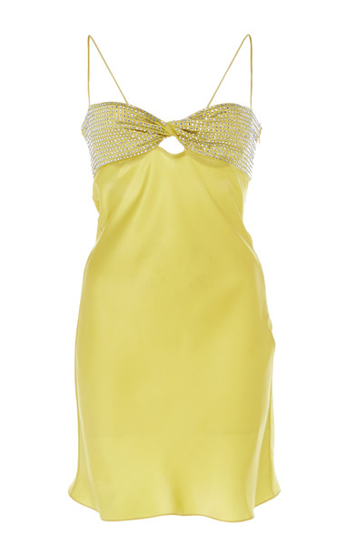 Alessandra Rich Crystal Bandeau Cutout Silk Satin Mini Dress Size: 40 in yellow
