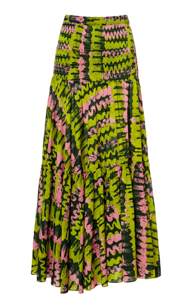 Rhode Jana Tiered Ruched Cotton Maxi Skirt Size: S in green