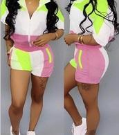 romper,pink green