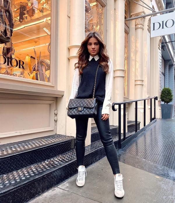 pants black leggings leather white sneakers vest white shirt black bag