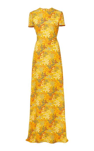 Carolina Herrera Open-Back Printed Crepe De Chine Gown in print