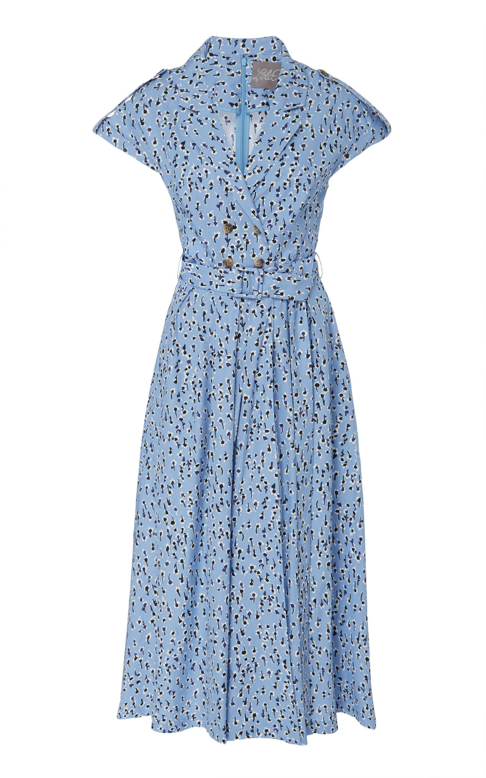Lela Rose Printed Cotton Midi Dress in blue