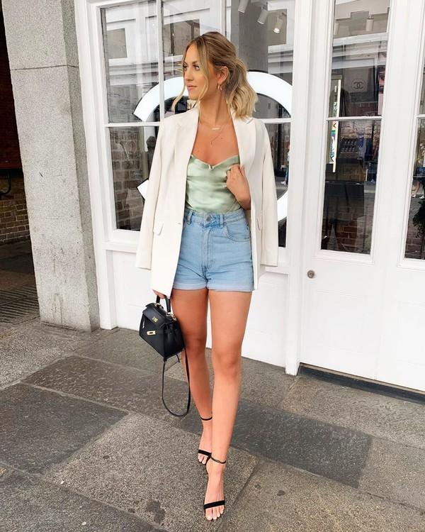 jacket white blazer topshop denim shorts high waisted jeans top black bag