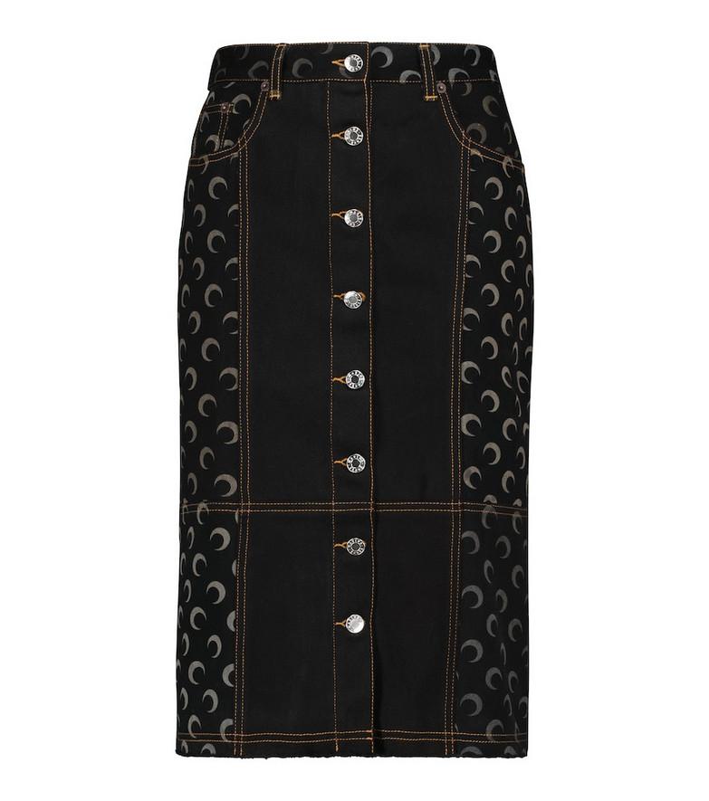 Marine Serre Printed denim pencil skirt in black