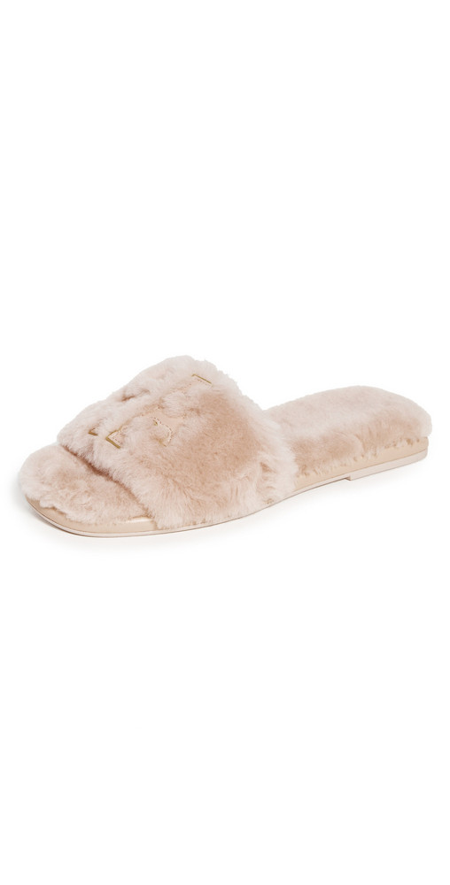 Tory Burch Sport Shearling Slides in gold / pink