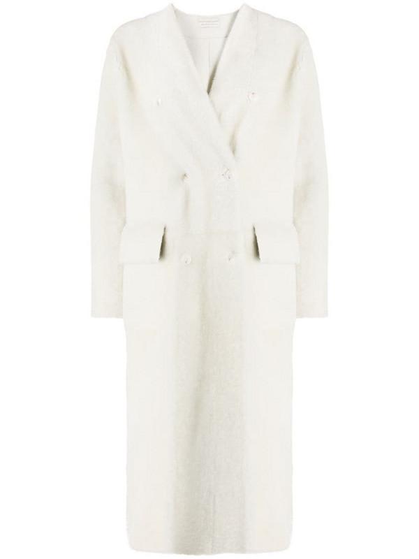 Inès & Maréchal V-neck shearling coat in white