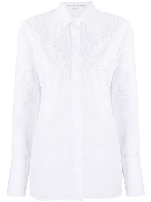 Ermanno Scervino lace detail shirt in white