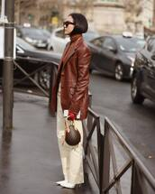 bag,louis vuitton bag,brown bag,white pants,white boots,high waisted pants,leather jacket,brown jacket,miu miu,turtleneck