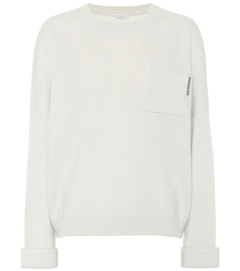 Brunello Cucinelli Embellished ribbed-knit cashmere sweater in white
