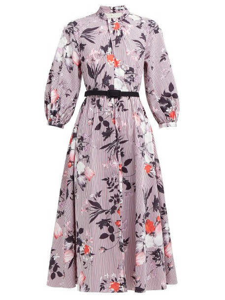 Erdem - Adrienne Isabelle Print Cotton Poplin Midi Dress - Womens - Burgundy Print