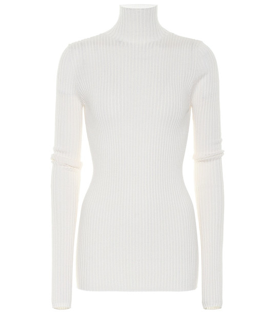 Jil Sander Wool and silk turtleneck sweater in white