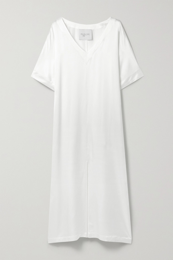 ENVELOPE ENVELOPE1976 - Tokyo Silk-satin Midi Dress - White