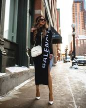 dress,turtleneck dress,midi dress,black dress,long sleeve dress,bodycon dress,slit dress,pumps,scarf,balenciaga,white bag