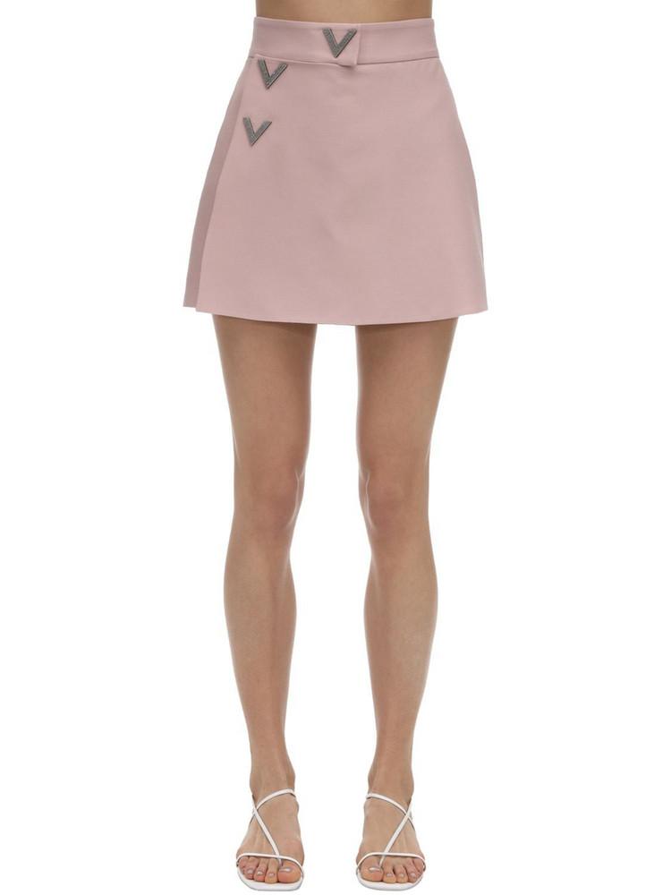VALENTINO Embellished Crepe Couture Skort in pink