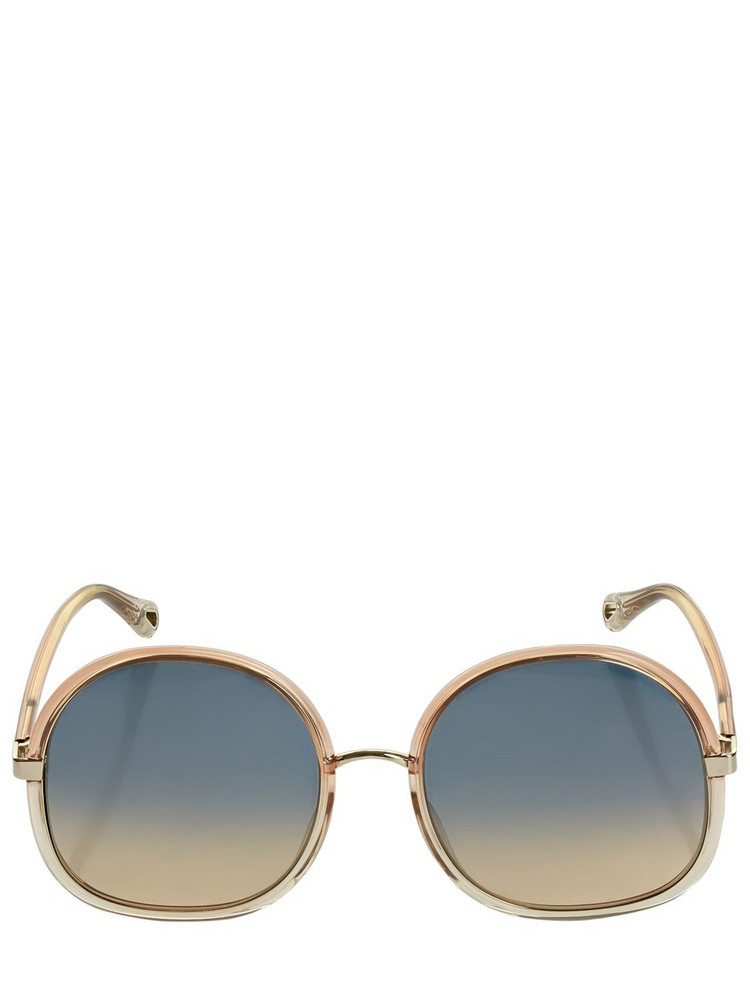 CHLOÉ Franky Oversize Round Sunglasses in orange / multi