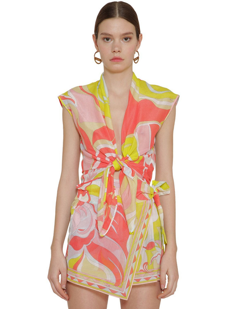 EMILIO PUCCI Print Gauze Knot Cotton & Silk Crop Top in pink