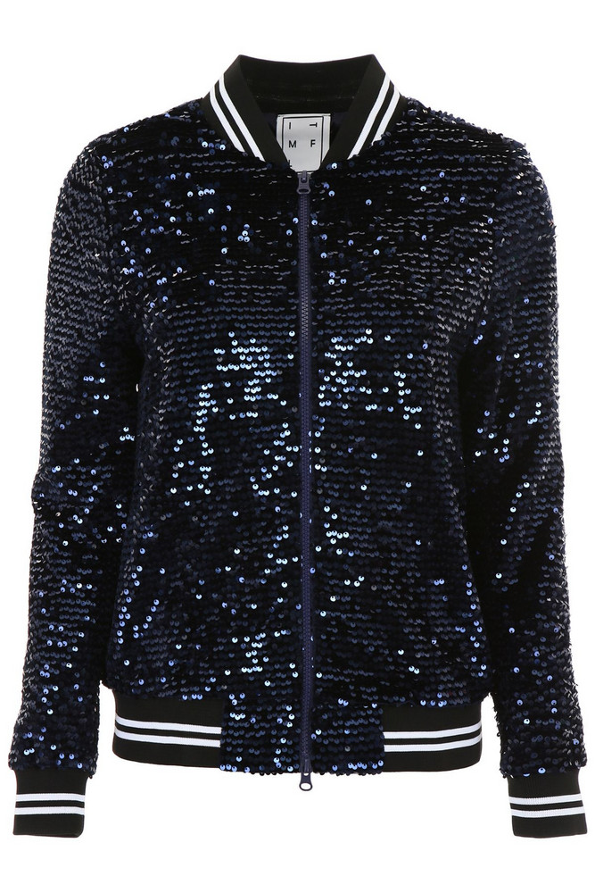 In The Mood For Love Sequins Katey Bomber Jacket in blue