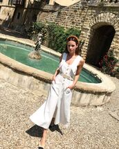 jumpsuit,white jumpsuit,sleeveless,belt,slingbacks,summer outfits,headband
