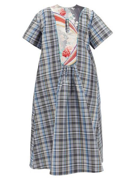 Rianna + Nina Rianna + Nina - Vintage Brocade-yoke Checked Silk Dress - Womens - Multi