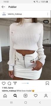 skirt,white,jupe,ensemble top jupe,blanc