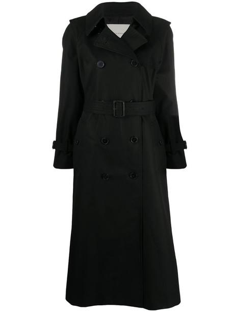 Mackintosh midi cotton trench coat in black