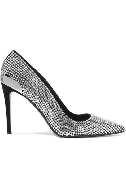Balmain - Orys Crystal-embellished Suede Pumps - Silver