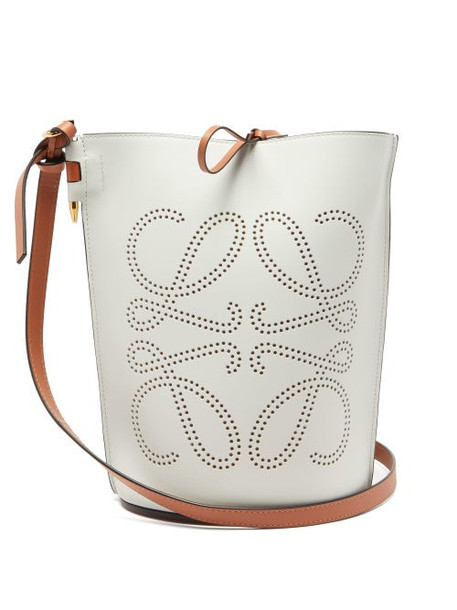 Loewe - Gate Anagram-perforated Leather Bucket Bag - Womens - White Multi
