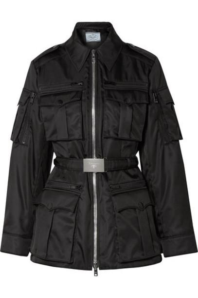 Prada - Belted Shell Jacket - Black