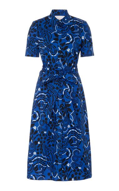 Carolina Herrera Short Sleeve Shirt Dress Size: 0 in blue