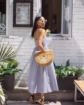 dress,maxi dress,blue dress,bag,shoes
