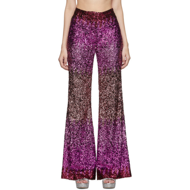 Halpern SSENSE Exclusive Pink Sequin Stovepipe Trousers