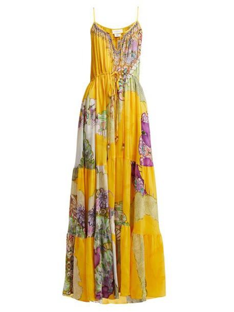 Camilla - Golden Years Silk Maxi Dress - Womens - Yellow Multi