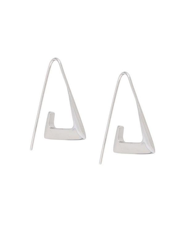 BAR JEWELLERY Para angular hoop earrings in silver