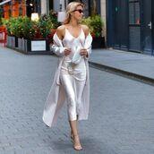 dress,slip dress,midi dress,sandal heels,white coat,white bag