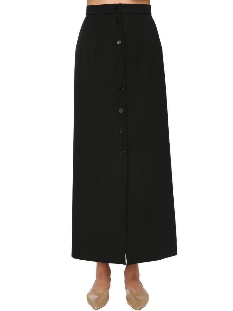 JIL SANDER Front Button Wool Grain De Poudre Skirt in black
