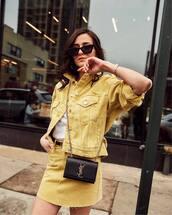 jacket,denim jacket,yellow jacket,mini skirt,denim skirt,yellow skirt,belt,white t-shirt,black bag,ysl bag
