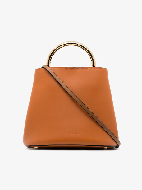 Marni Pannier large two-tone tote bag in brown