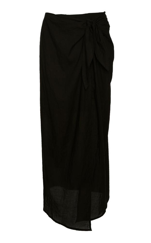 Anemone Ramie Wrap Maxi Skirt in black