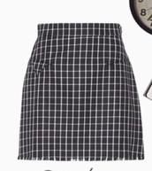 skirt,black skirt,plaid skirt