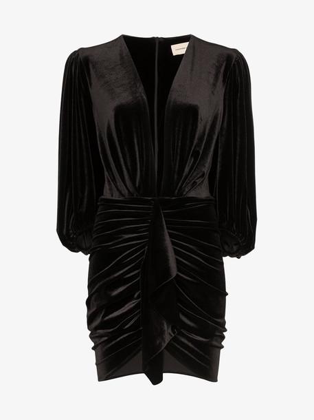Alexandre Vauthier ruched velvet mini dress in black