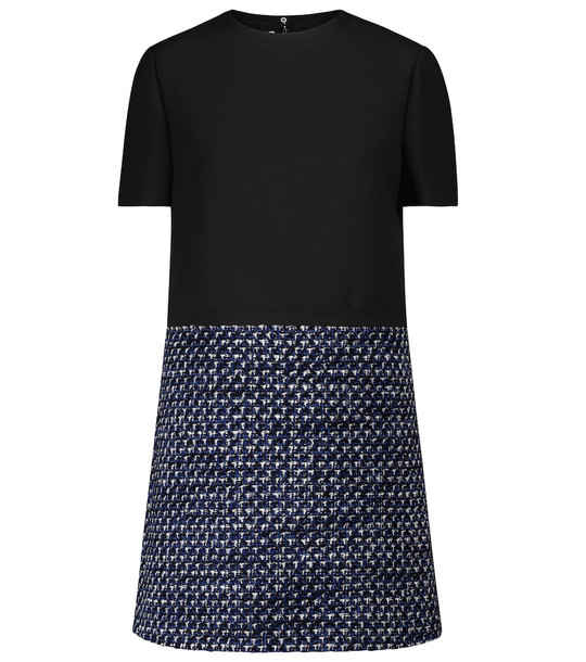 Valentino Crêpe couture and tweed minidress in black