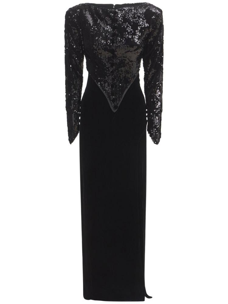 SANDRA MANSOUR Sequined Velvet Long Dress in black