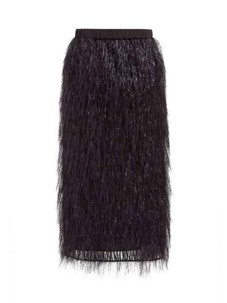 Raey - Elasticated Waist Tinsel Midi Skirt - Womens - Black