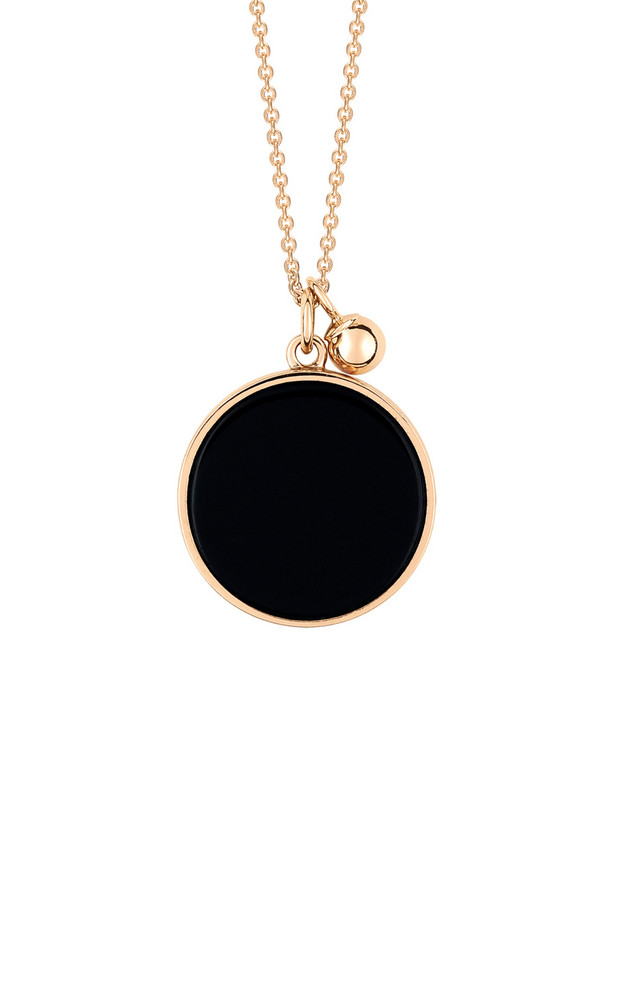 Ginette NY Ever 18K Rose Gold Onyx Disc Necklace in black